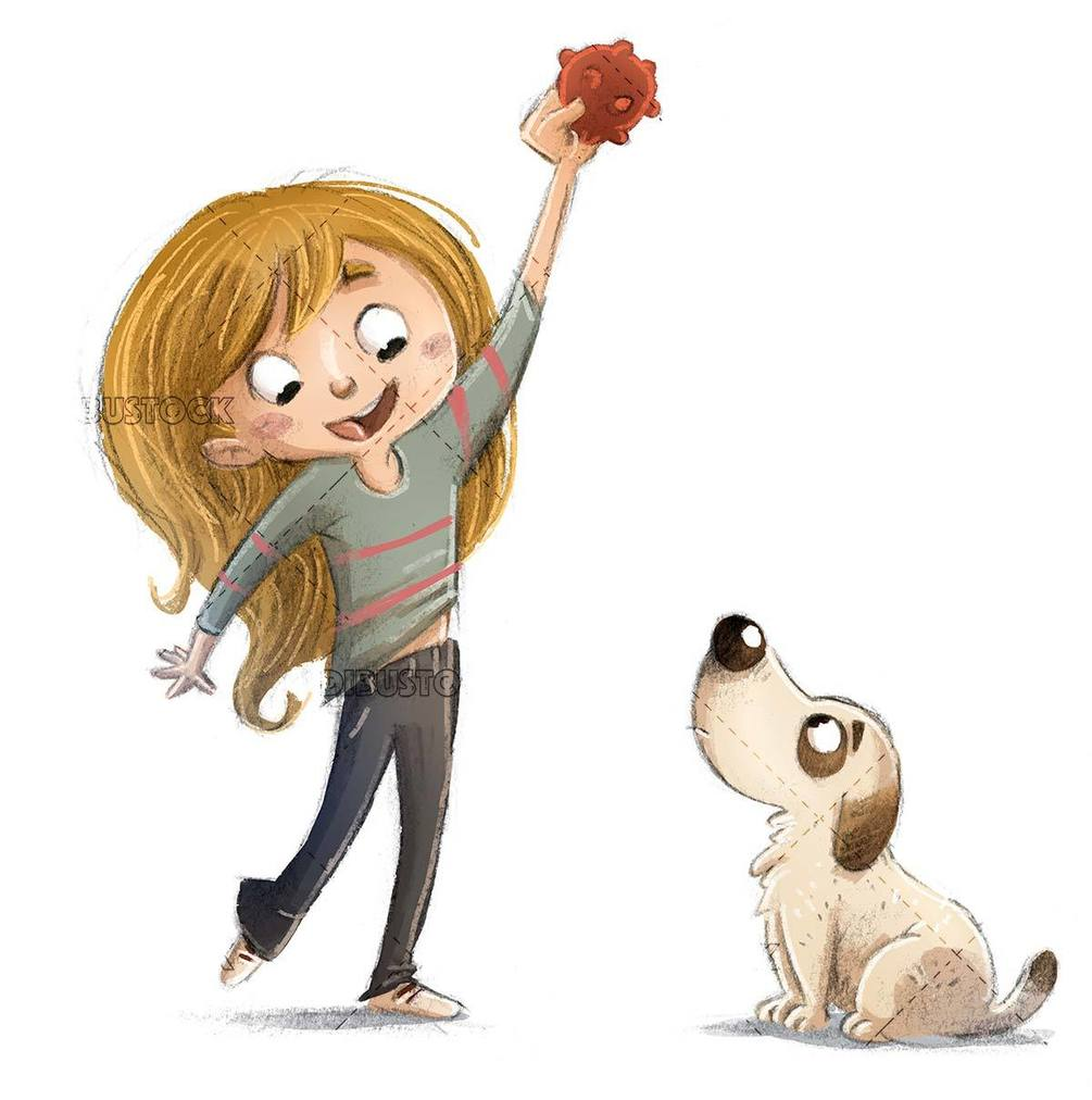 little girl playing with her dog to the ball