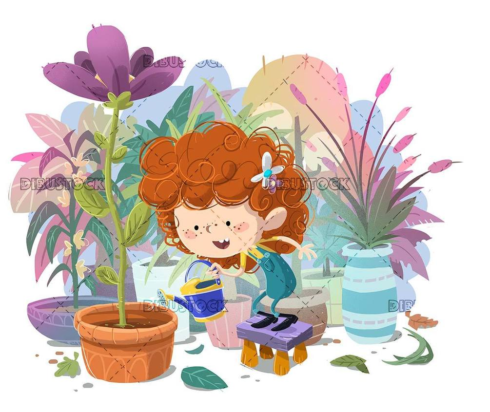 little girl surrounded by flowers watering a giant flower with watering can