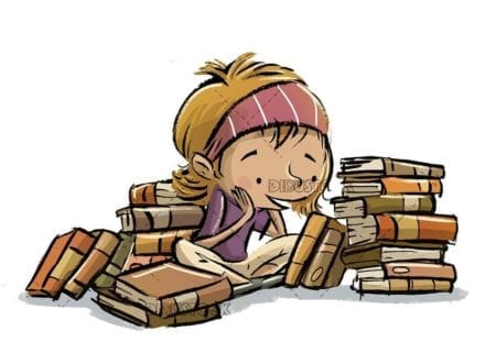little girl thinking surrounded by books