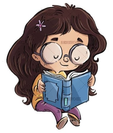 little girl with glasses sitting reading quietly