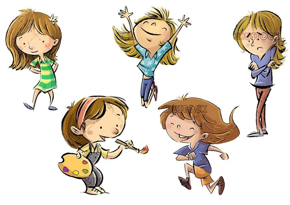 little girls in different funny poses