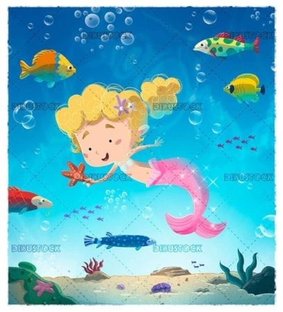 little mermaid playing with starfish surrounded by fish