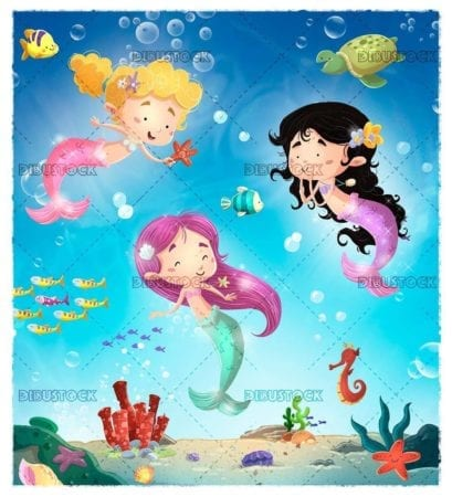little mermaids playing with fish under the sea