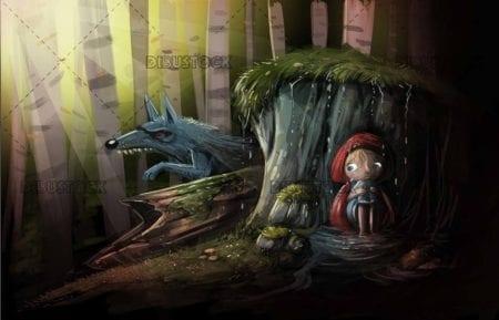 little red riding hood hidden in the fierce wolf