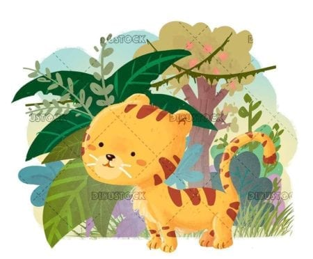 little tiger in jungle background