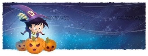 little witch girl jumping pumpkins at night halloween