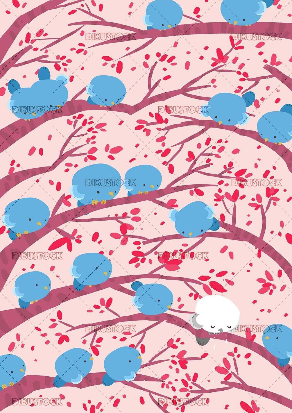 many blue birds looking at a sad white bird