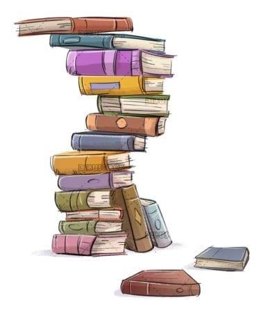 many books piled up isolated