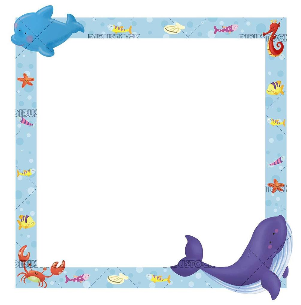 marine frame with whale and dolphin