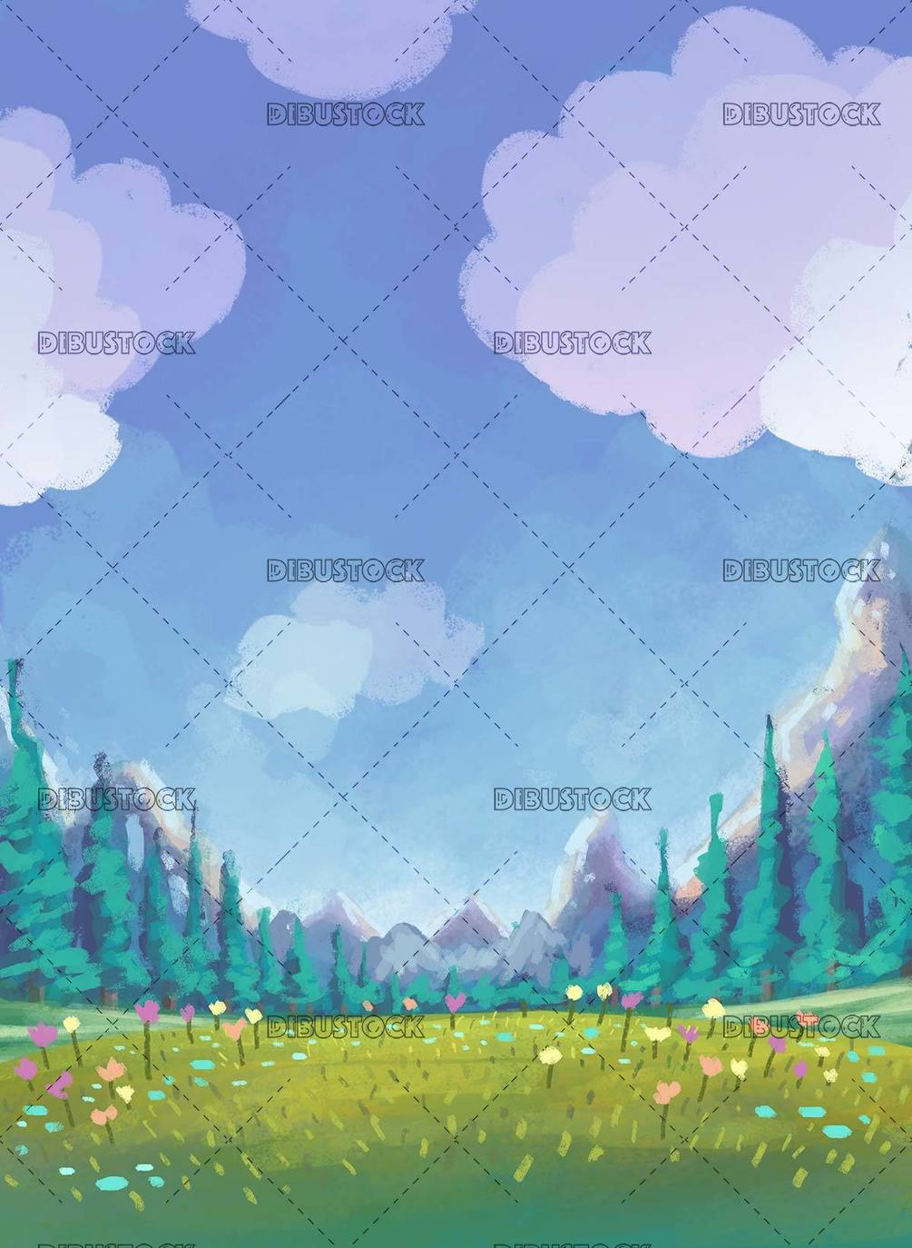 meadow background with mountains behind