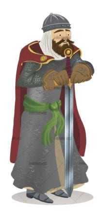 medieval knight with armor and sword