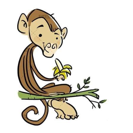 monkey sitting on a branch eating banana