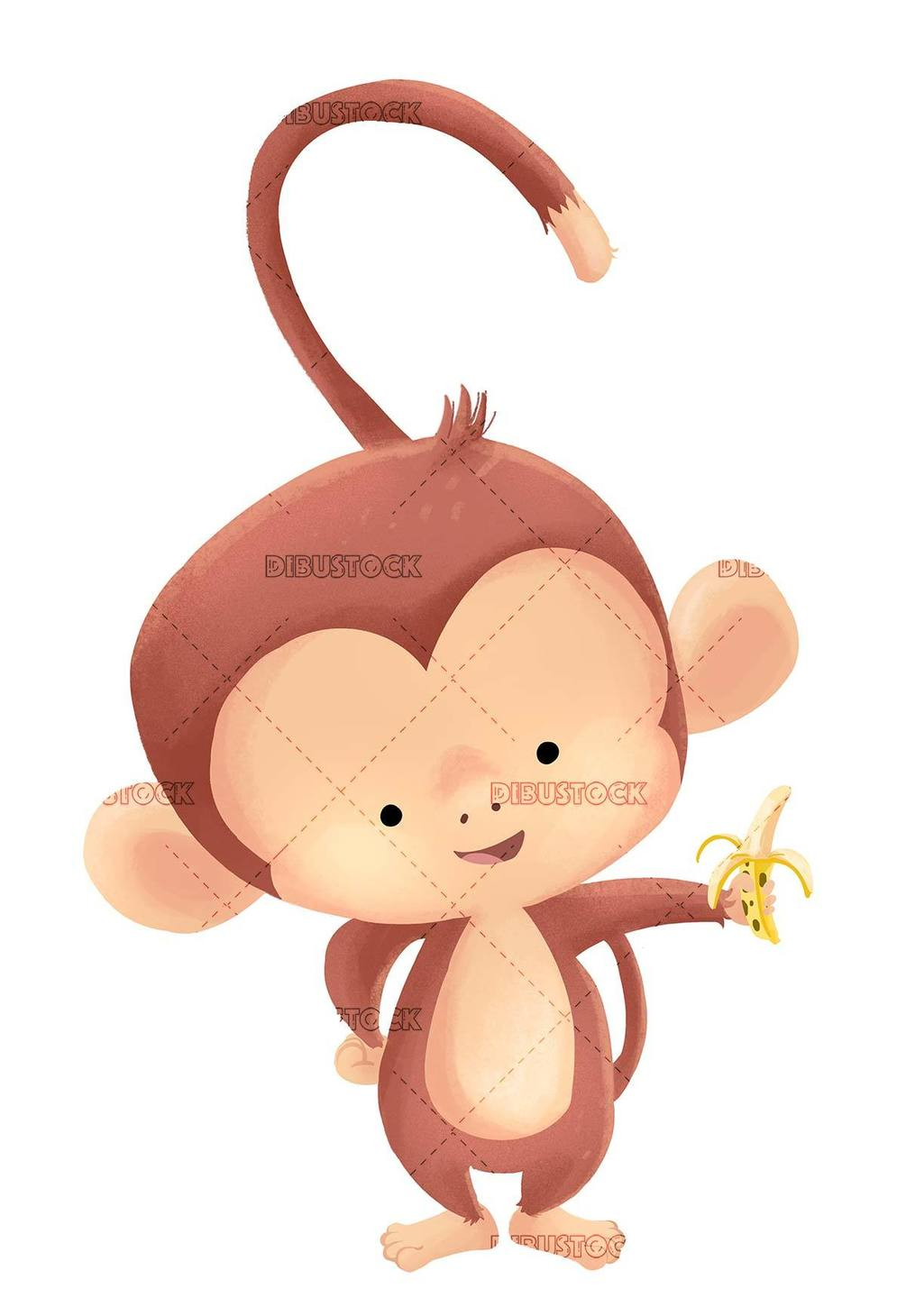 monkey with banana in hand