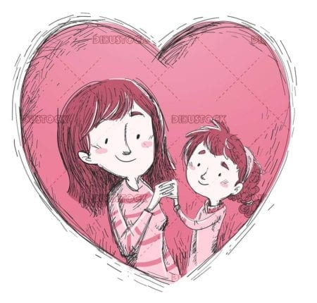 mother and daughter inside a giant heart