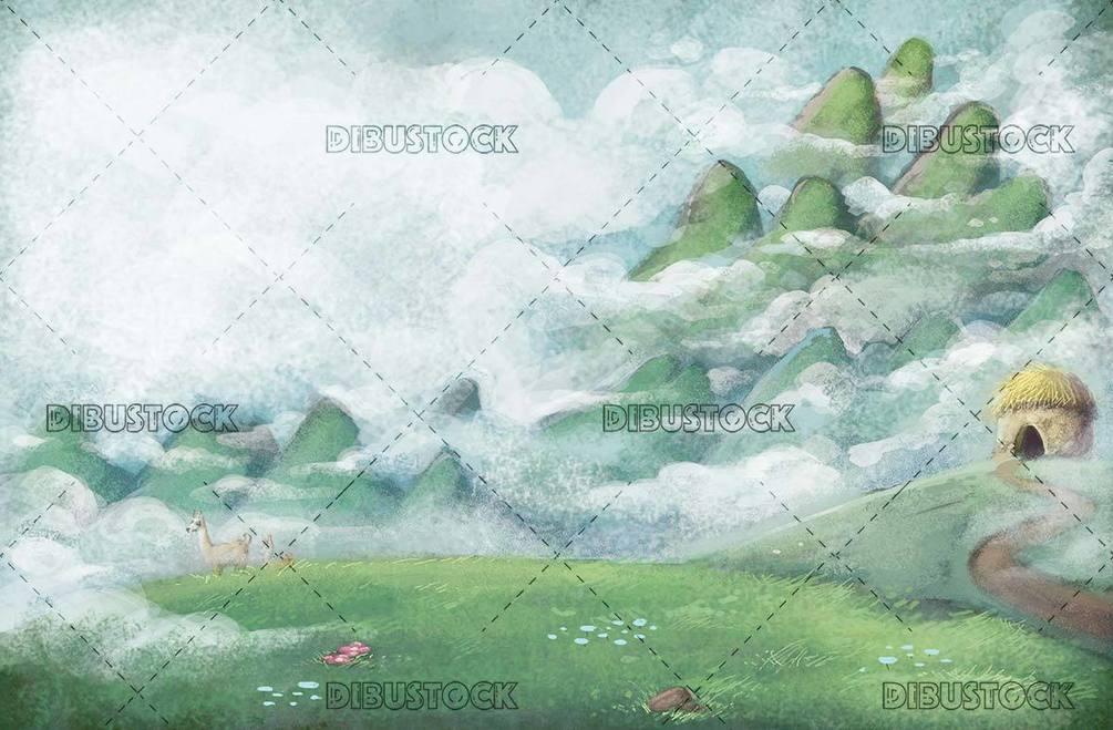 mountainous landscape with fog