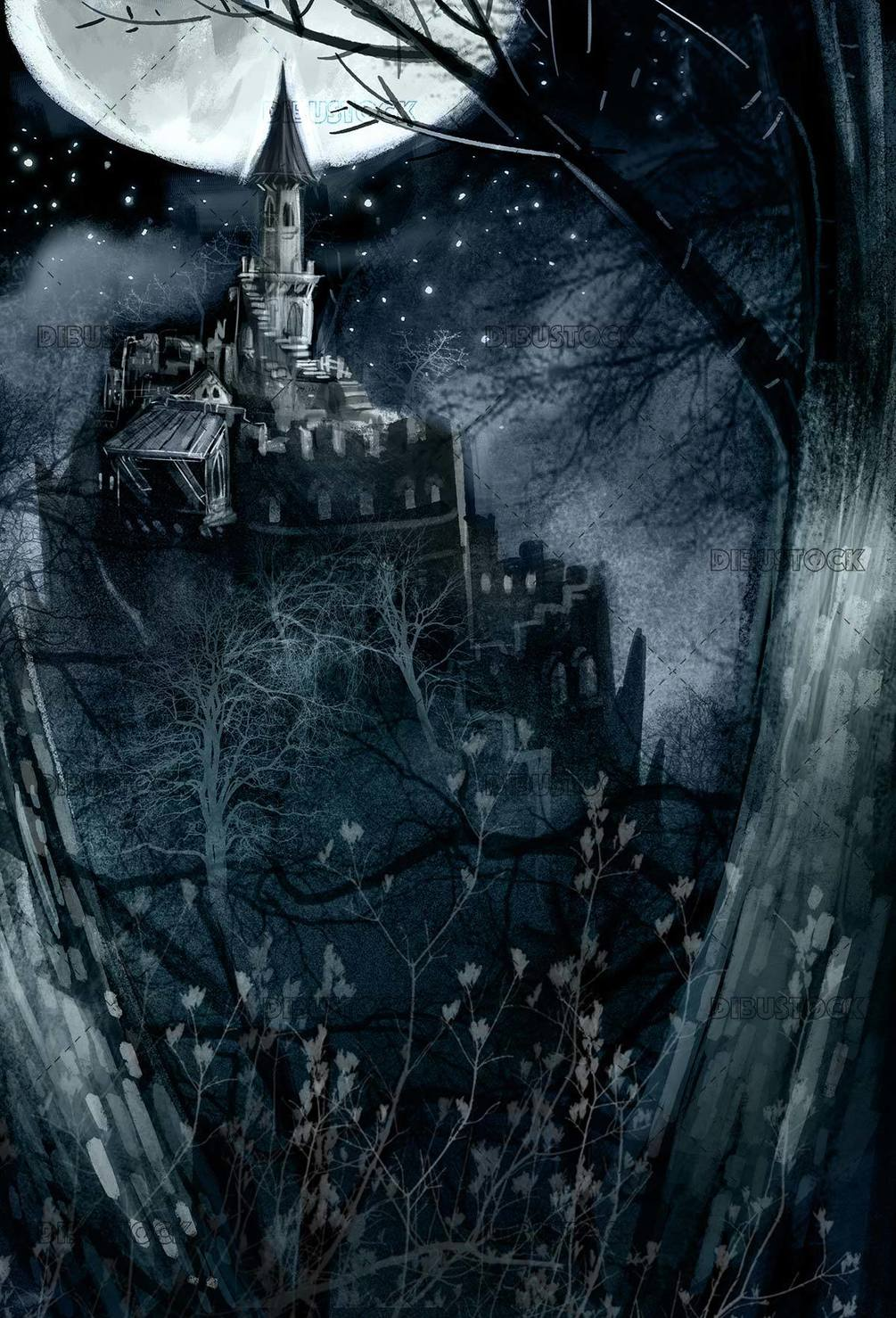 night background with castle in the mountain
