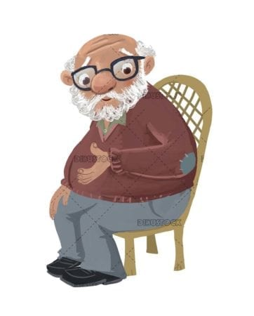 old man with glasses sitting on the chair