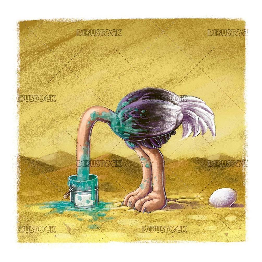 ostrich hiding head in paint bucket
