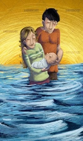 parents with their baby in the water