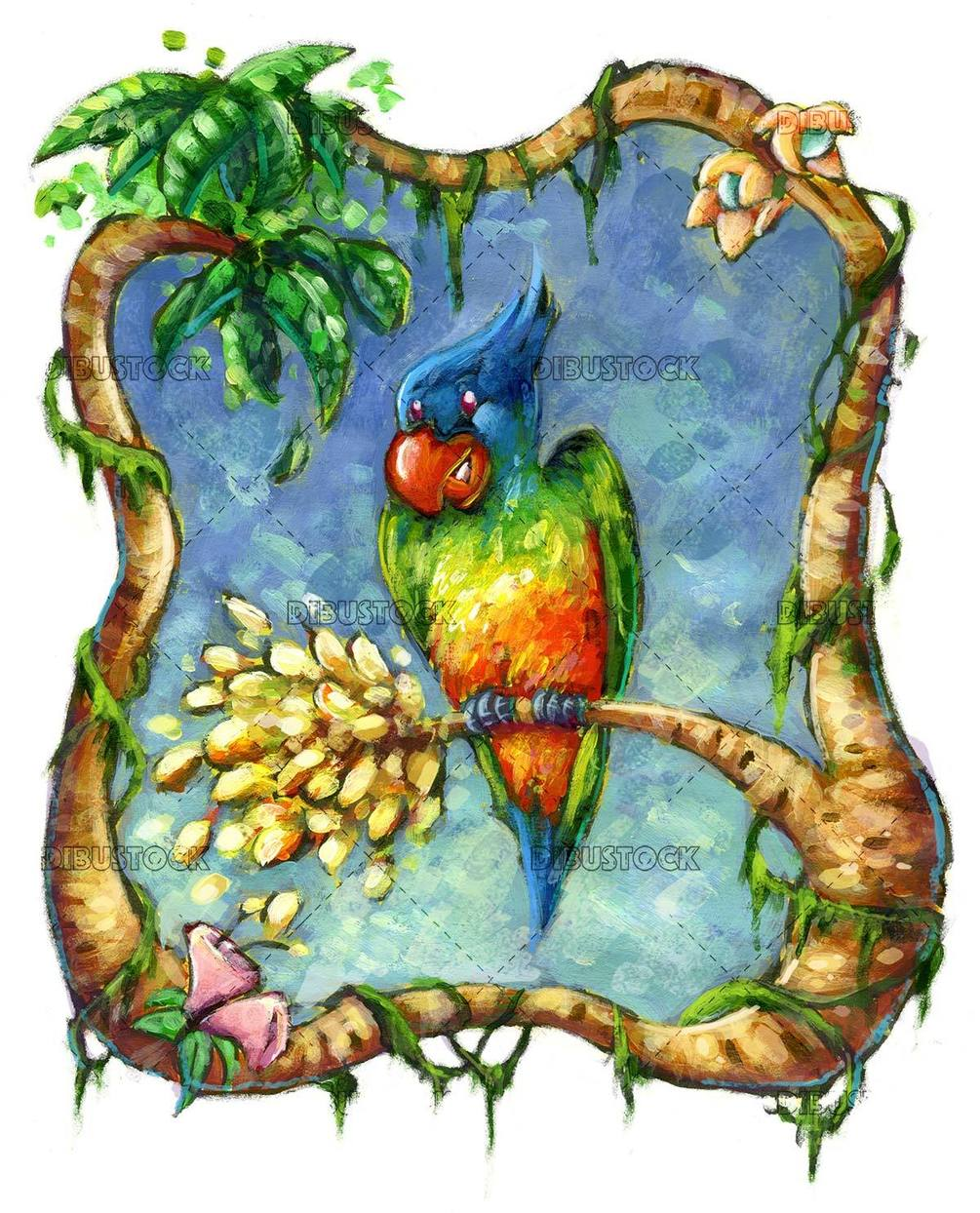 parrot with jungle frame