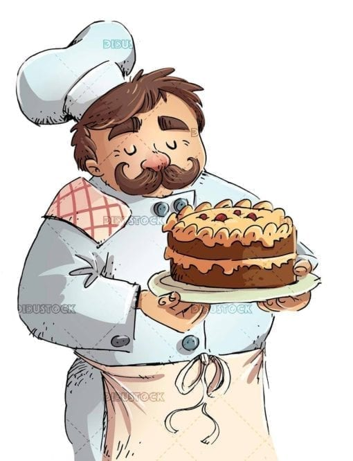 pastry chef with mustache catching a delicious cake