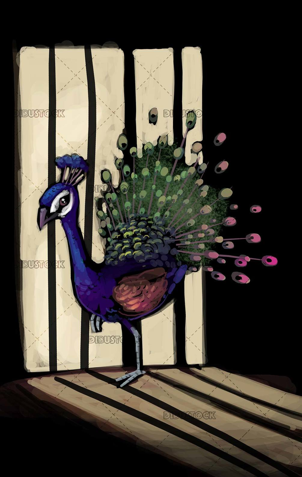 peacock locked in a cage