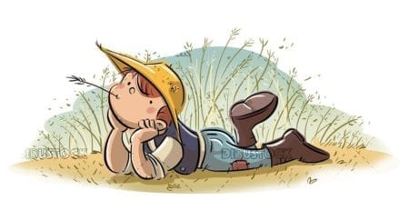 peasant boy lying in the field