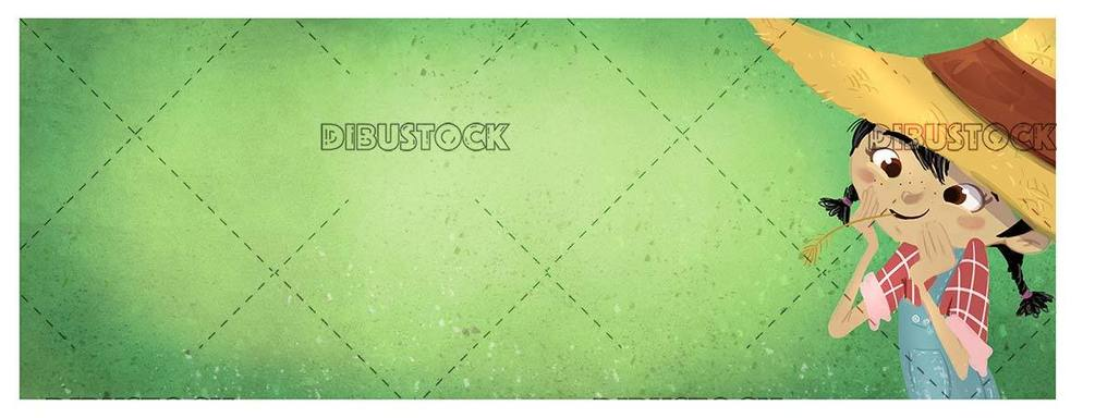 peasant girl on green texture background