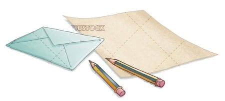 pencils 2C paper and envelope of letters