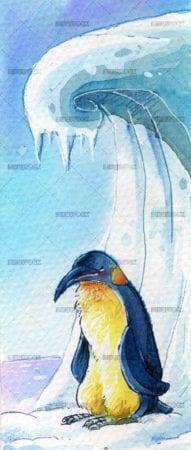 penguin next to a snow mountain