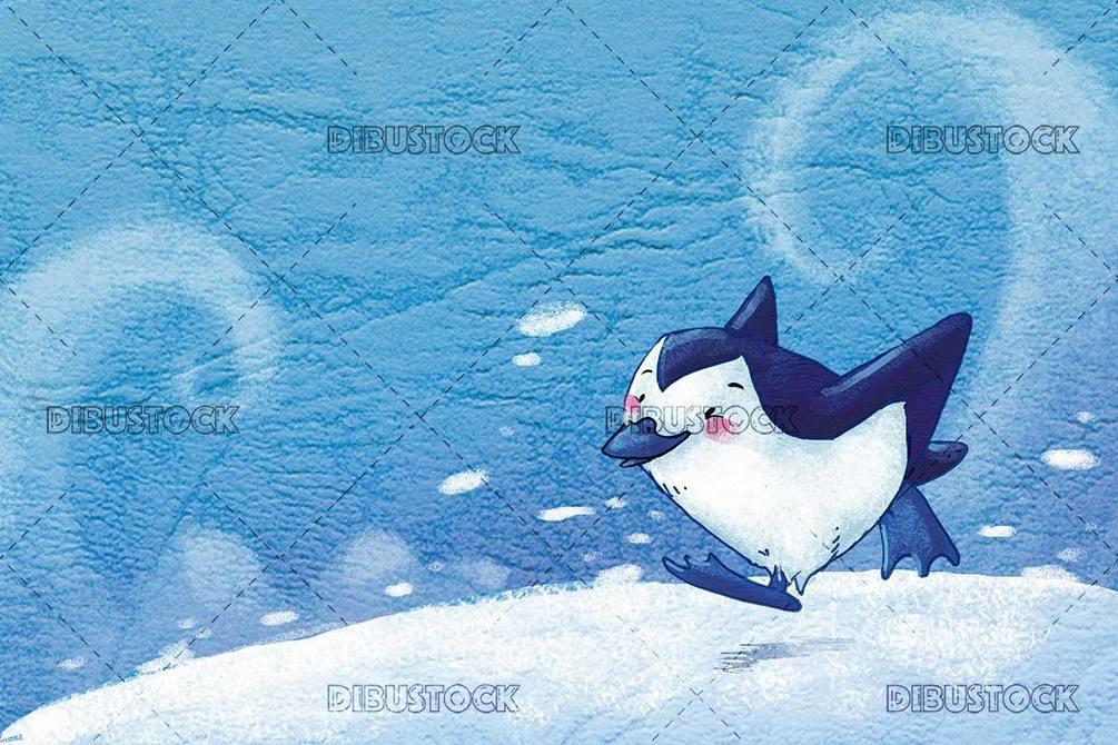 penguin running through the snow