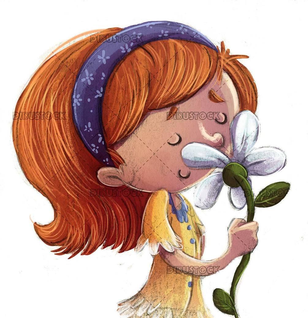 pequen CC 83a nin CC 83a que huele una flor con fondo aislado