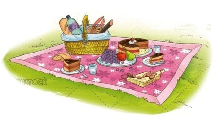 picnic illustration in the grass