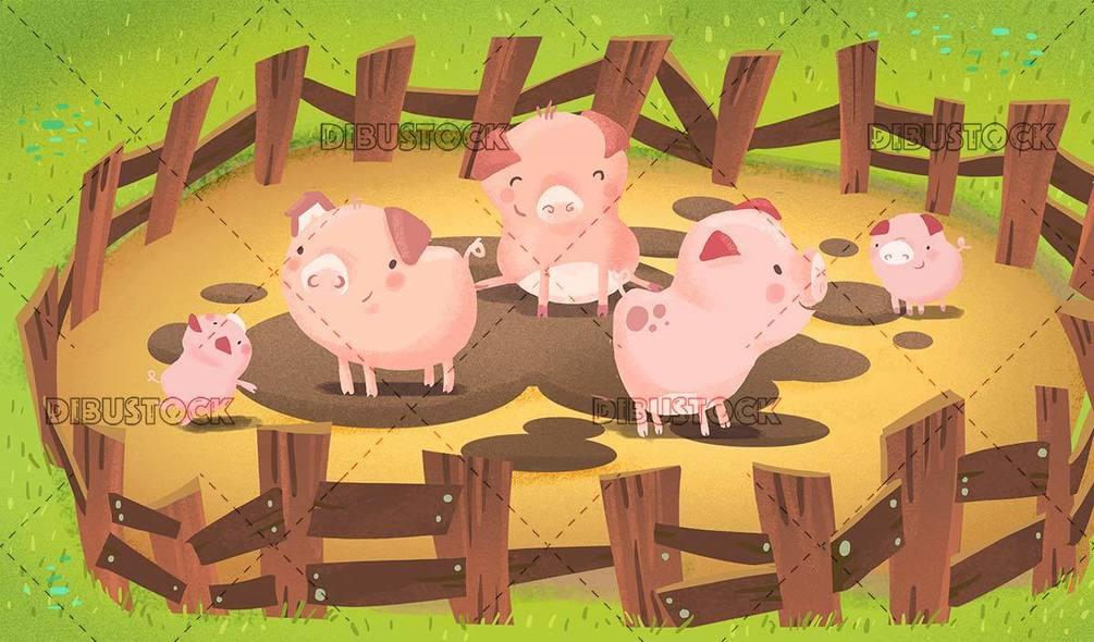 pig family on the farm