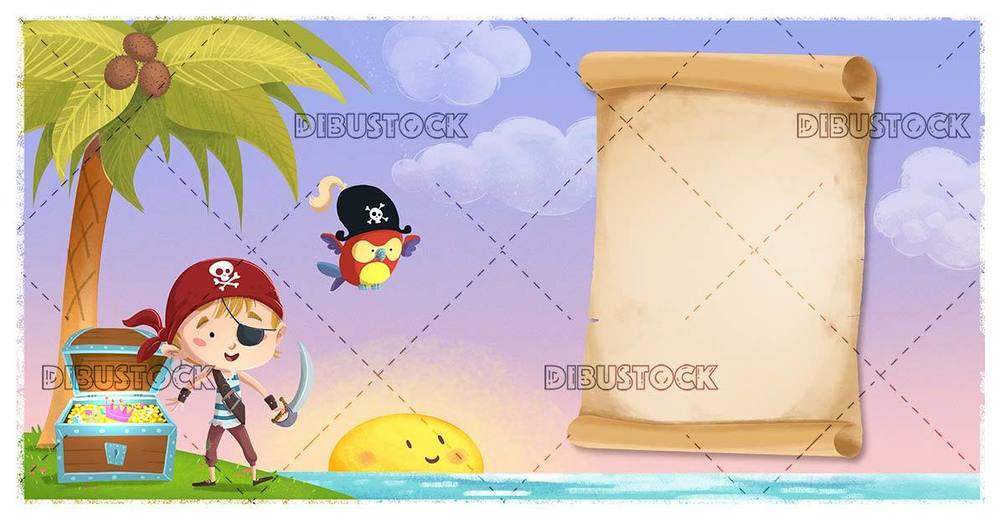 pirate boy and parrot with treasure map on an island