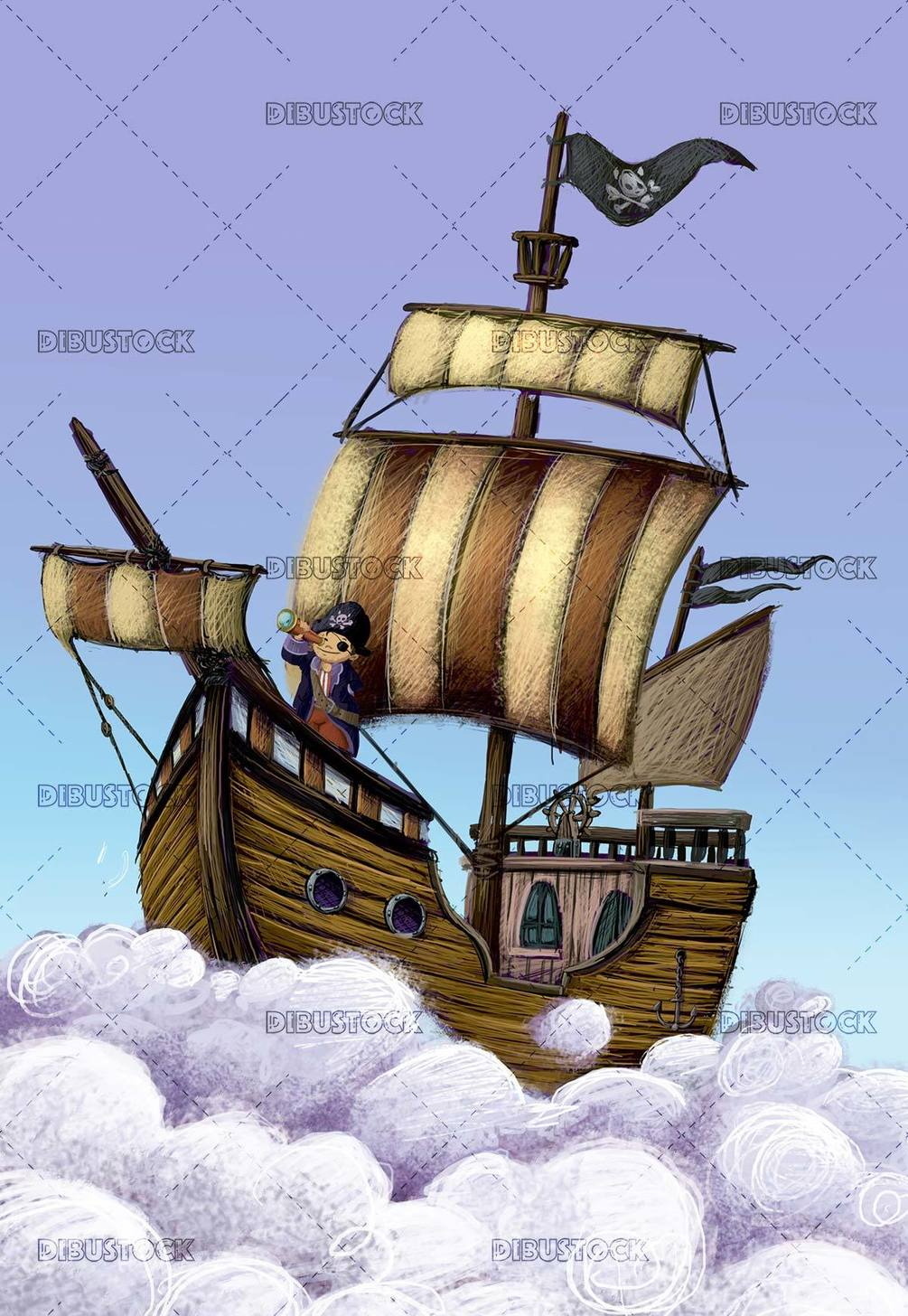 pirate boy flying with his ship through the clouds