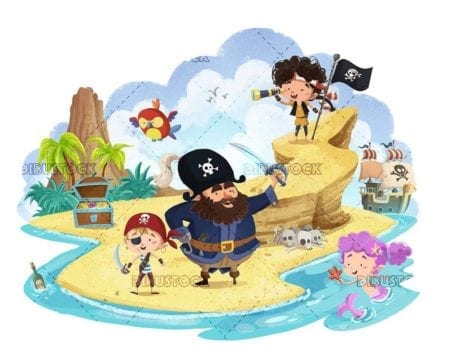 pirates and mermaid on an island with treasure