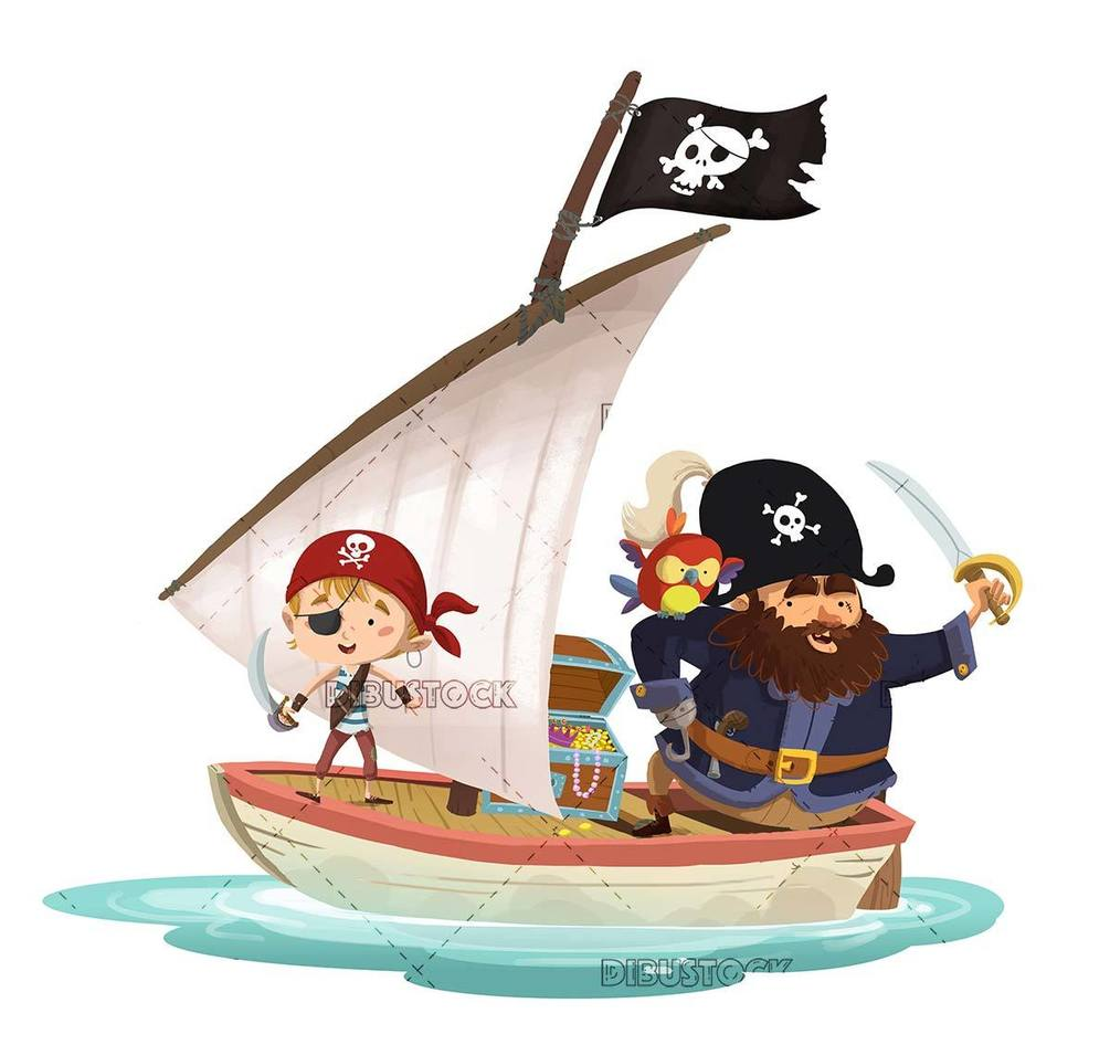 pirates and parrots boarded a sailboat