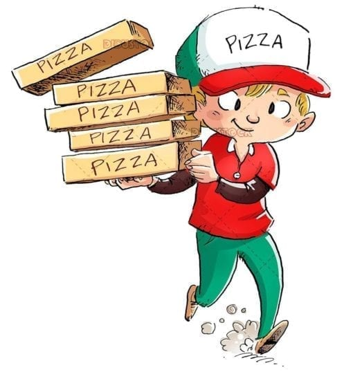pizza boy carrying pizza boxes