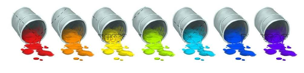 pots of overflowing paint of different colors