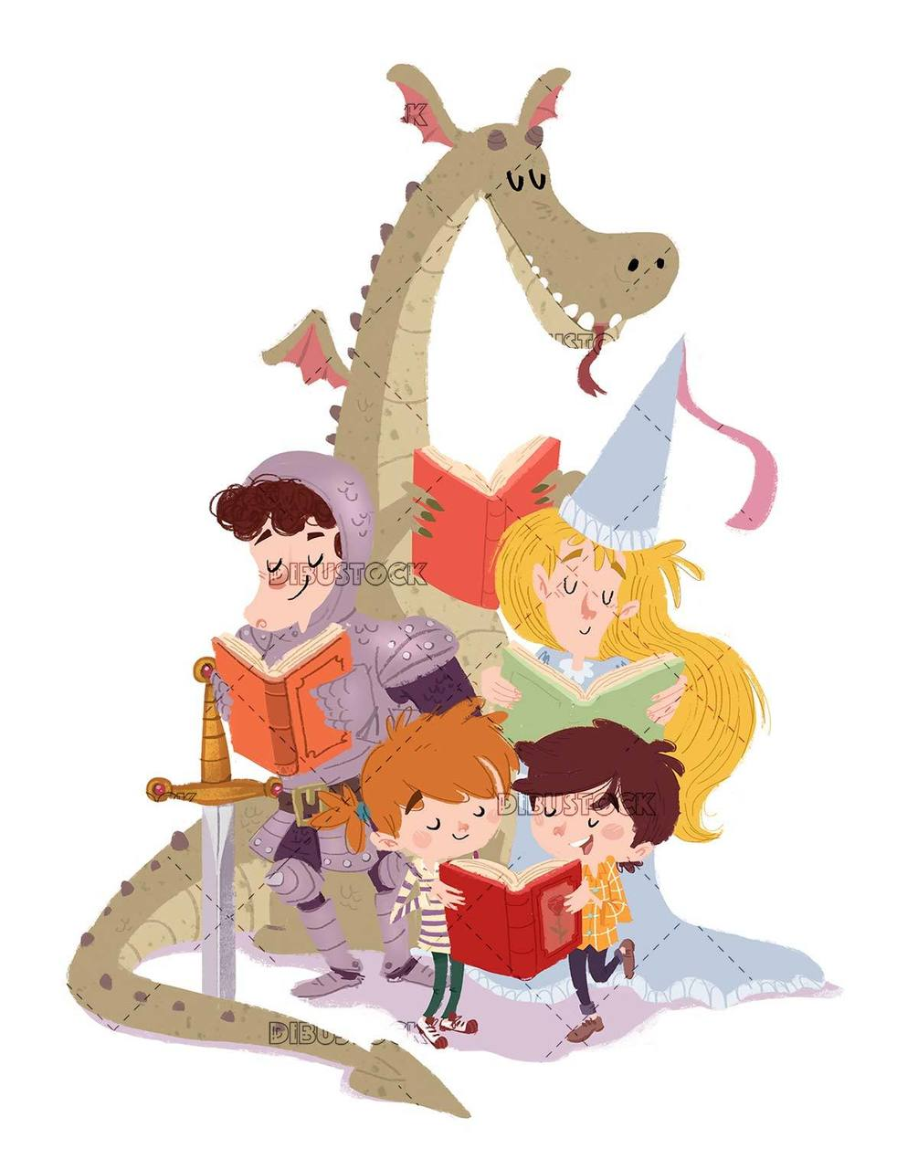 prince and princess with dragon and children reading