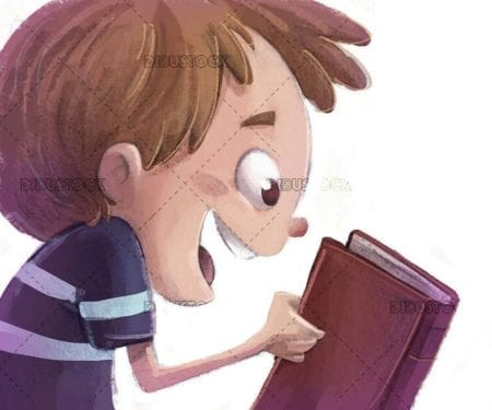 profile boy face with book in hands and isolated background