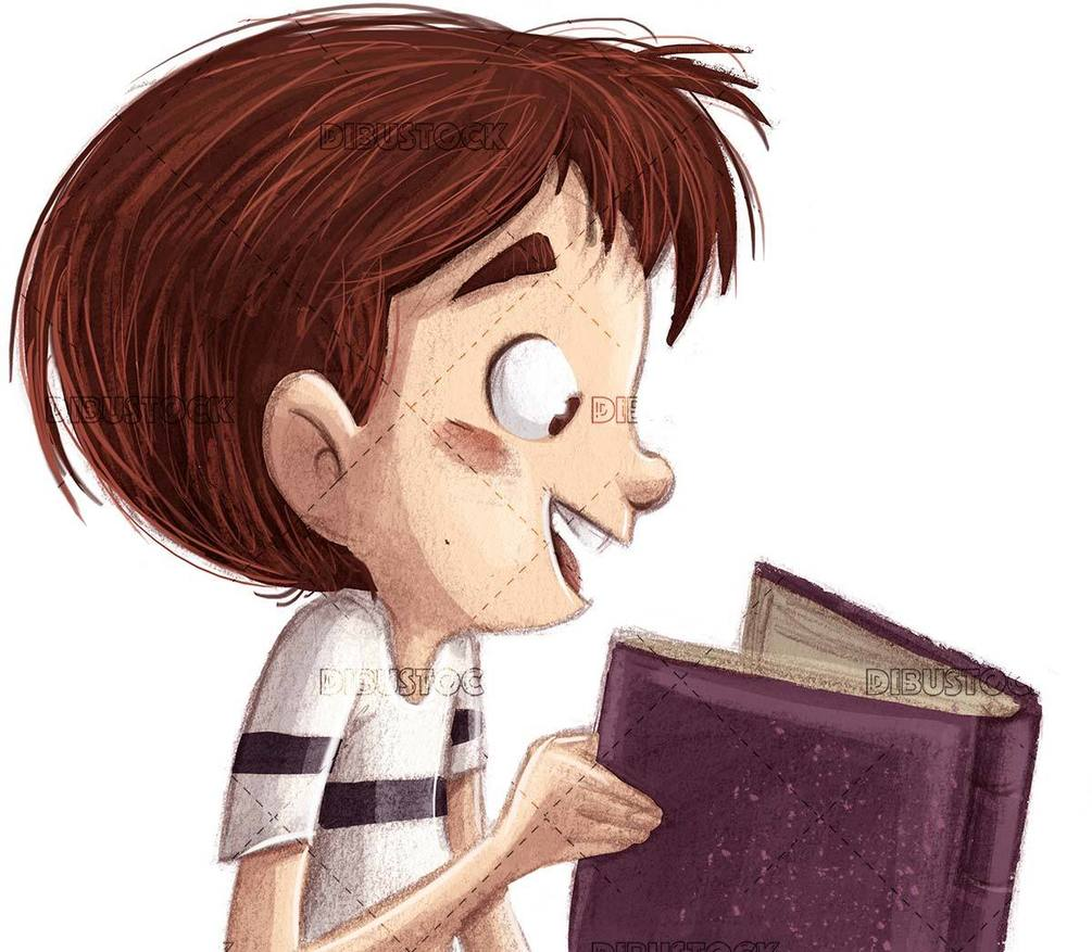 profile face of boy reading a book isolated