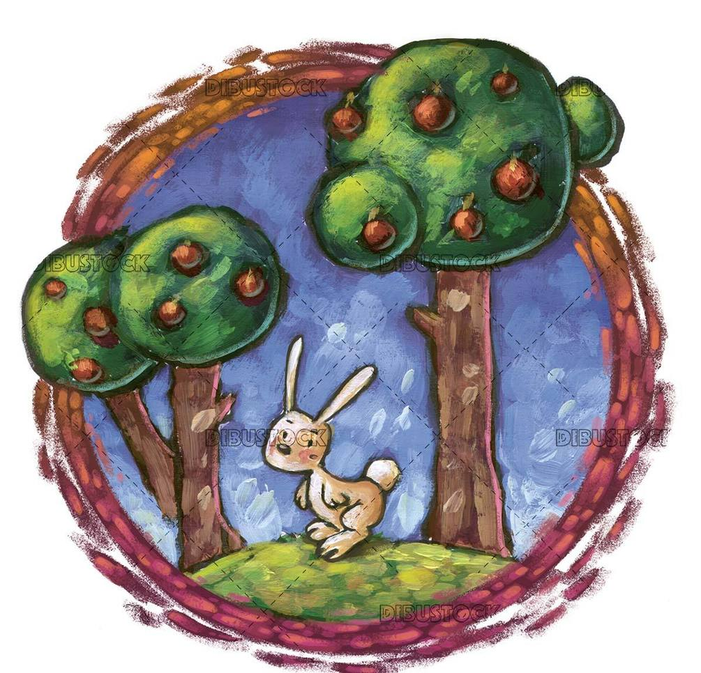 rabbit in the forest with circle