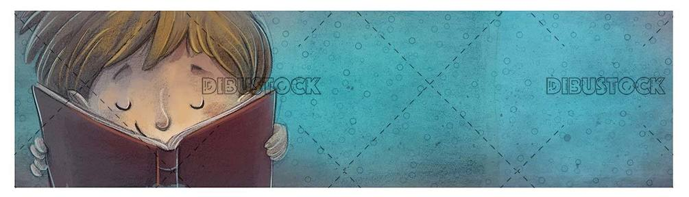 reading boy face with red book and blue texture background