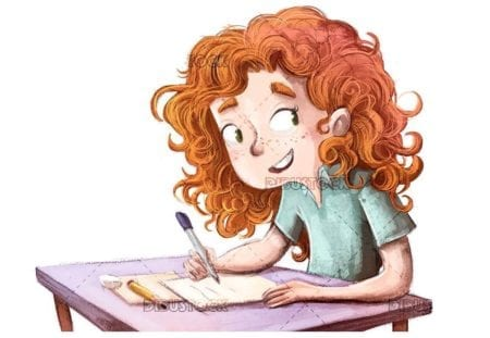 redhead happy young lady writing at school table