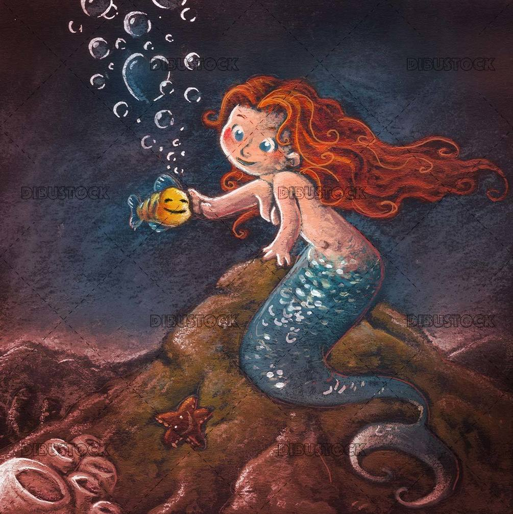 redhead mermaid stroking a yellow fish