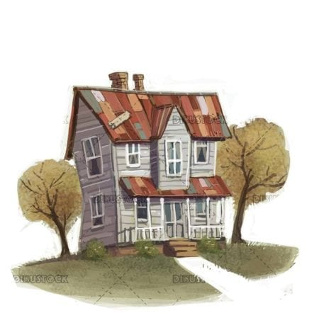 rustic house with trees on isolated background