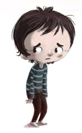 sad and depressed boy on isolated background