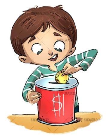 saver boy putting money in piggy bank